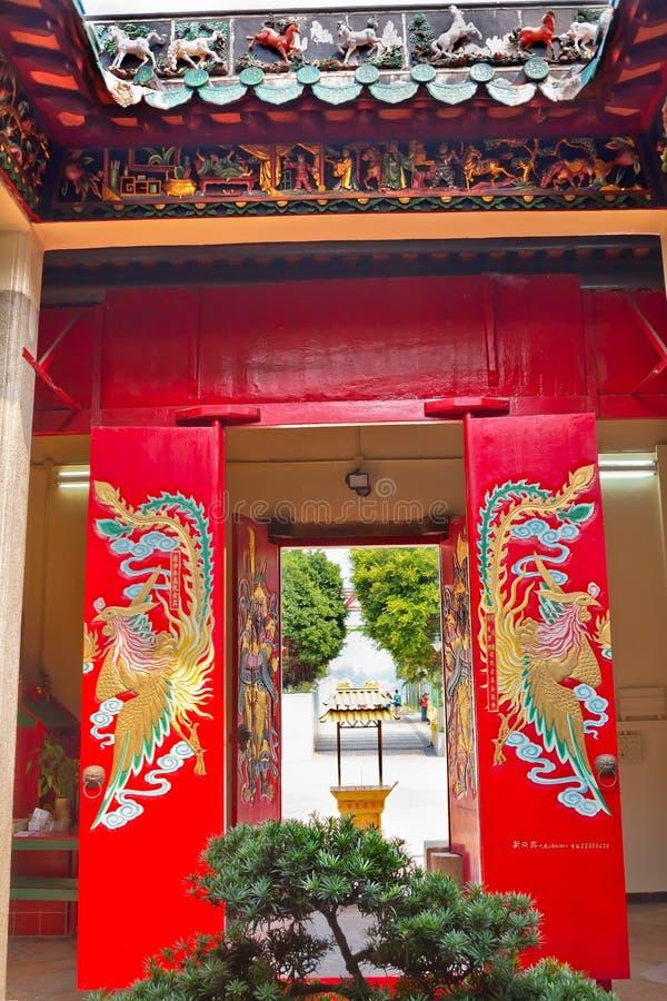Czerwonych Drzwi Blaszana Hau Świątynia Hong Kong obraz royalty free