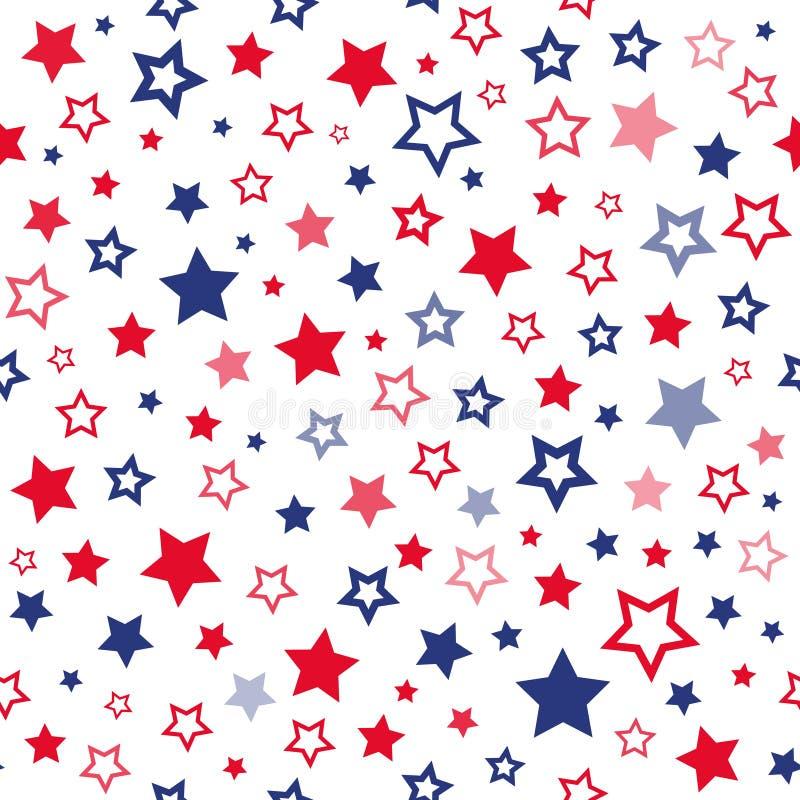 Czerwonych i błękitnych gwiazd wektoru bezszwowy wzór ilustracji