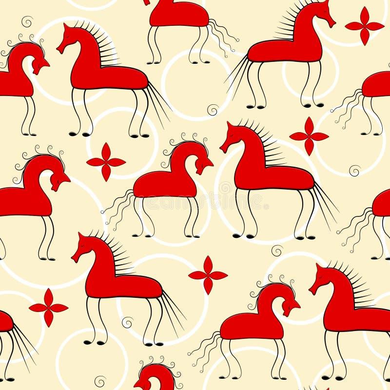 Czerwonych koni bezszwowy wzór royalty ilustracja