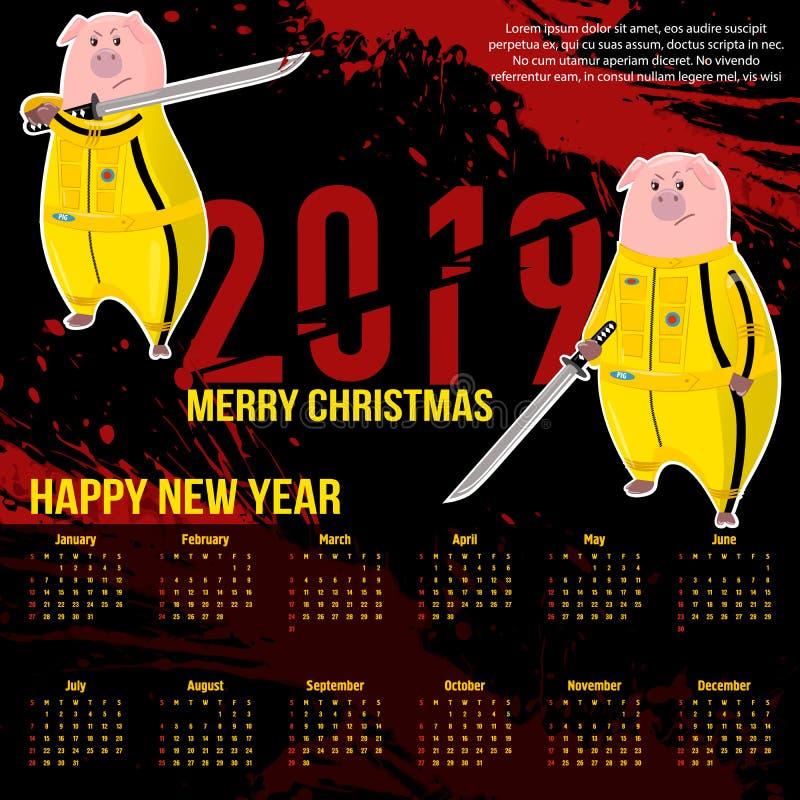 2019 czerwonych krwistych liczb Prosiątko kalendarz wieprz Kung fu, karate kopnięcie 2019 Chińskich nowy rok symboli/lów royalty ilustracja