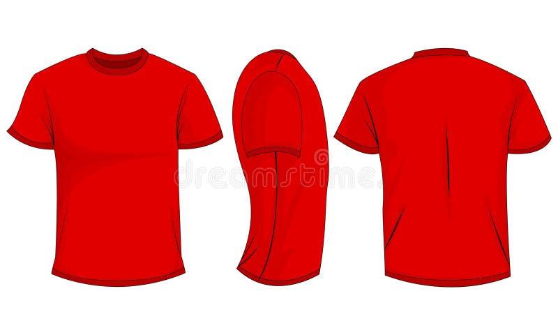 Czerwonych mężczyzn koszulka z krótkimi rękawami przód, plecy, boczny widok pojedynczy białe tło royalty ilustracja