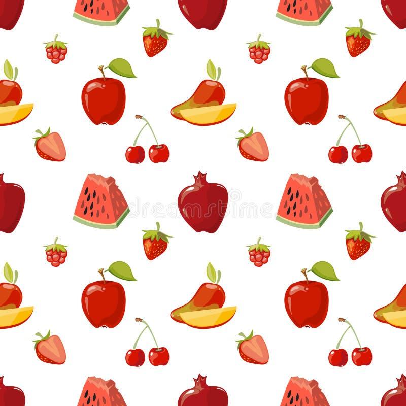 Czerwonych owoc bezszwowy wzór nad białym tłem ilustracji