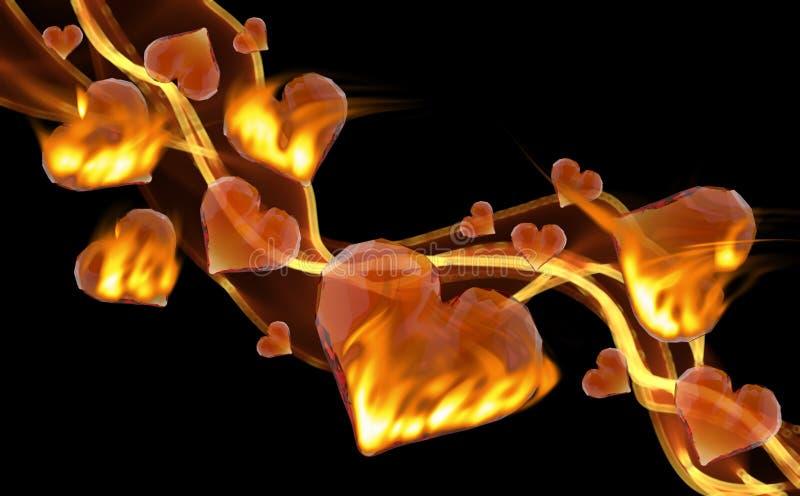 Czerwonych płonących klejnotów serc ogienia dymu wiodąca fala odizolowywająca na ciemnym tle Geometryczny miętoszący trójgraniast ilustracja wektor