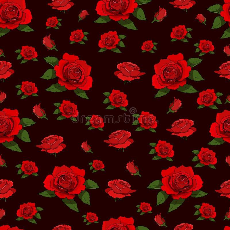 Czerwonych róż bezszwowy wzór ilustracji