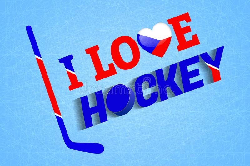 Czeski lodowego hokeja tło Republika Czech miłości hokejowy wektorowy plakat Kierowy symbol w tradycyjni kolory Dobry pomysł dla  ilustracji