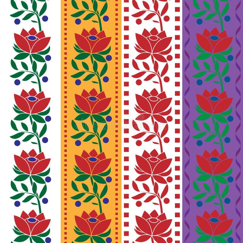 Czeski Ludowy bezszwowy deseniowy tkaniny jacquard faborek żyłuje ściągania ilustracj wizerunek przygotowywający wektor ilustracja wektor