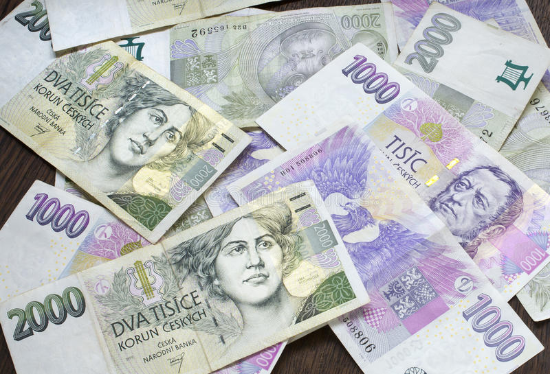 Czeski pieniądze, czeskie korony zdjęcia royalty free
