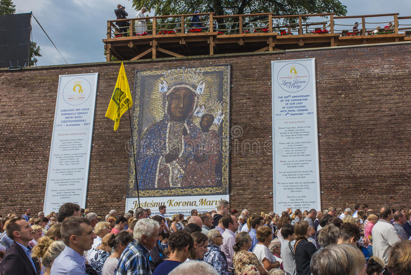 Czestochowa, Польша, 26-ое августа 2017: Юбилей 300 годовщины стоковое изображение rf