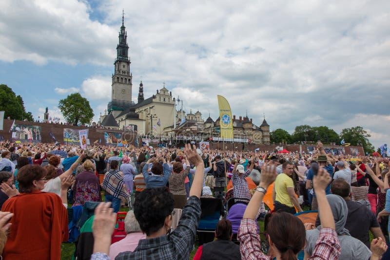 CZESTOCHOWA, ПОЛЬША - 21-ое мая 2016: Дежурство католический харизматический r стоковая фотография rf