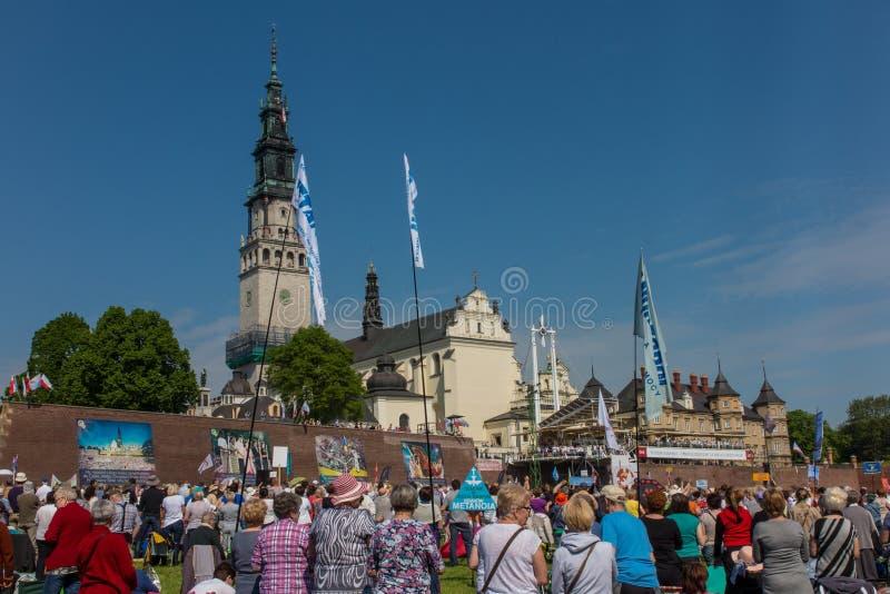 CZESTOCHOWA, ПОЛЬША - 21-ое мая 2016: Дежурство католический харизматический r стоковые изображения