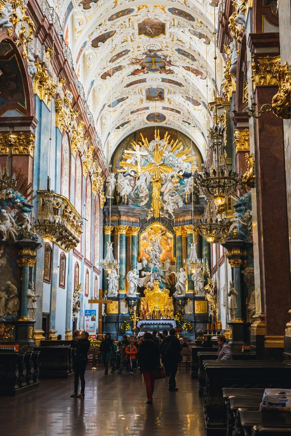 Interior of the Jasna Gora sanctuary in Czestochowa, Poland. Very important and most popular p. Czestochowa, Poland, 29 April 2015: Interior of the Jasna Gora royalty free stock image