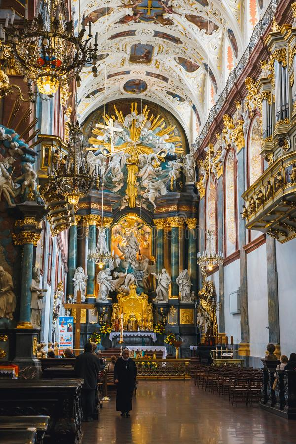 Interior of the Jasna Gora sanctuary in Czestochowa, Poland. Very important and most popular p. Czestochowa, Poland, 29 April 2015: Interior of the Jasna Gora royalty free stock images