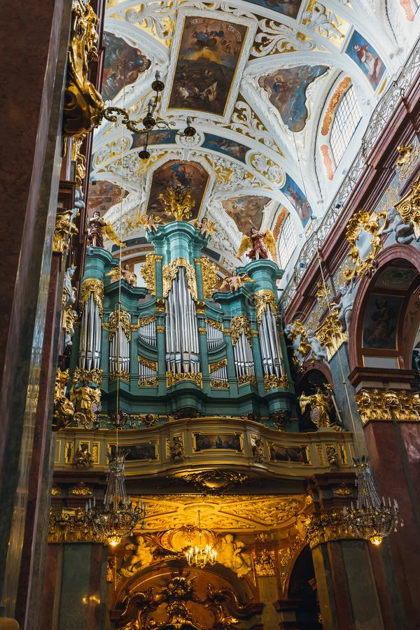 Interior of the Jasna Gora sanctuary in Czestochowa, Poland. Very important and most popular p. Czestochowa, Poland, 29 April 2015: Interior of the Jasna Gora royalty free stock photos
