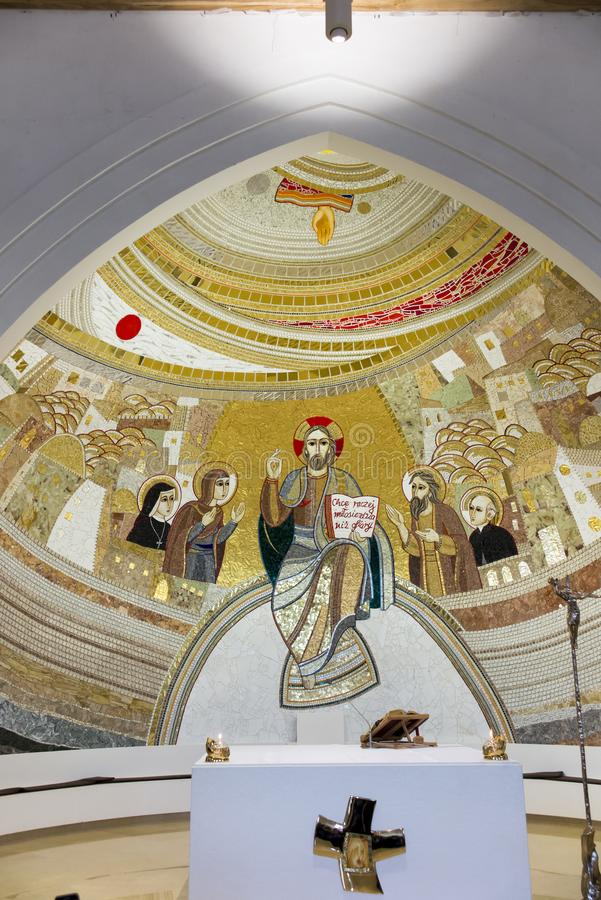 Czestochowa, Poland, April 8, 2018: Mosaic in the sanctuary of G. Od`s mercy in the Divine Mercy Valley at Pallottine priests royalty free stock images