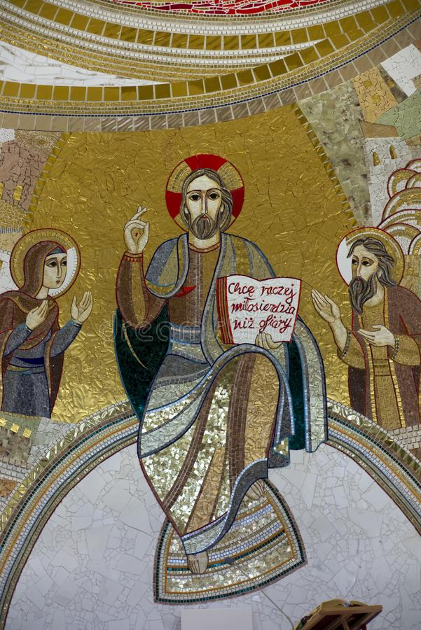 Czestochowa, Poland, April 8, 2018: Mosaic in the sanctuary of G. Od`s mercy in the Divine Mercy Valley at Pallottine priests stock photography