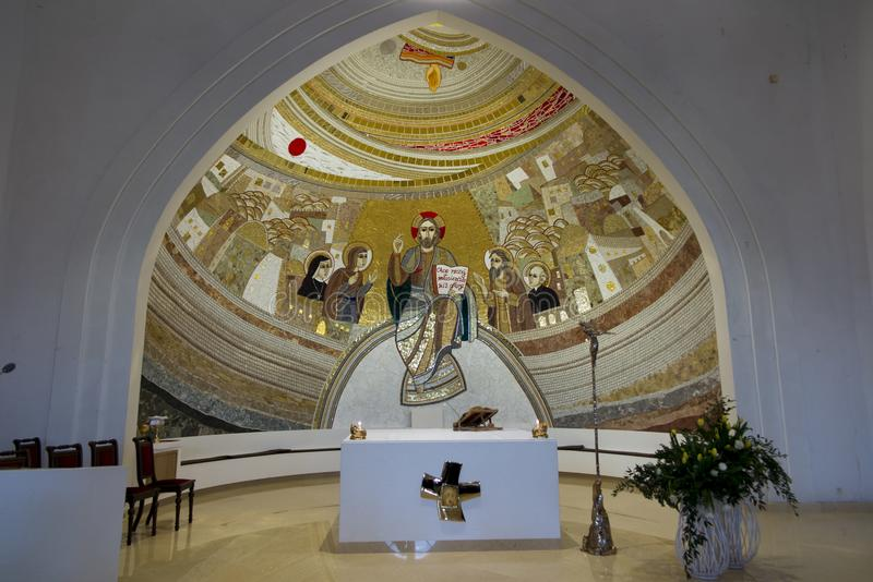 Czestochowa, Poland, April 8, 2018: Mosaic in the sanctuary of G. Od`s mercy in the Divine Mercy Valley at Pallottine priests royalty free stock image