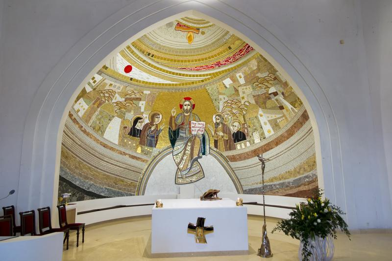 Czestochowa, Poland, April 8, 2018: Mosaic in the sanctuary of G. Od`s mercy in the Divine Mercy Valley at Pallottine priests stock photos