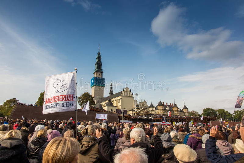 Czestochowa, Poland - October 15, 2016: United Atonement, all-day prayer meeting people from all over Polish, who repented of his stock photos