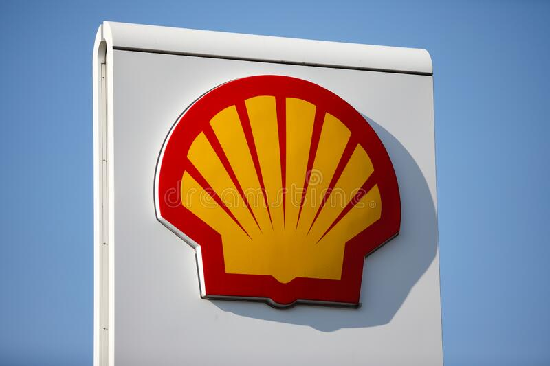 The logotype of SHELL gas station. Czestochowa, Poland, Silesia -17 March 2020: SHELL gas station, gas pump, SHELL V- POWER fuel, SHELL FuelSave royalty free stock photography