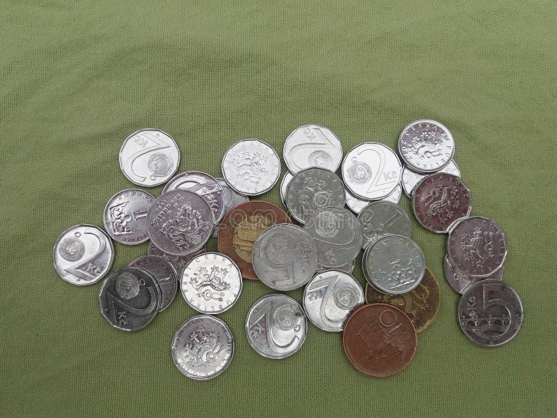CZK checa do dinheiro das moedas da coroa imagens de stock royalty free