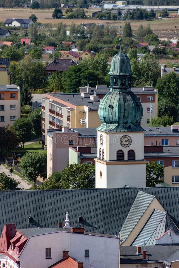 Czluchow, Pomeranian / Poland - September, 6, 2019: View from the Teutonic tower on the city of Czluchow. Panorama of small cities royalty free stock images
