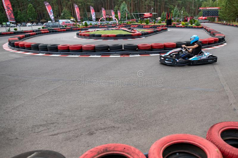 Czluchow, Pomeranian Voivodeship / Poland - June 20, 2019: Karting track in a small town. Karting driving on the track at high royalty free stock images