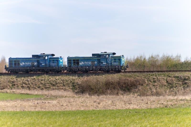 Czluchow, pomorskie/Polen - April, 14, 2019: Zwei Lokomotiven auf Bahnen in Mitteleuropa Die Bahnlinie in einer kleinen Stadt stockbild