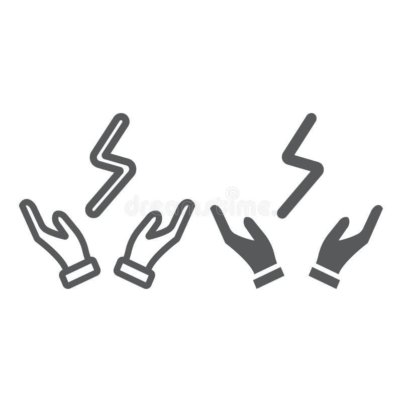 Czmycha w ręki linii, glif ikona i władza, elektryczny, błyskawica znak, wektorowe grafika, liniowy wzór na bielu ilustracji