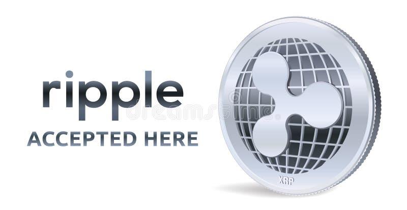 czochra Akceptujący szyldowy emblemat Crypto waluta Srebna moneta z czochra symbolem odizolowywającym na białym tle 3D isometric  royalty ilustracja
