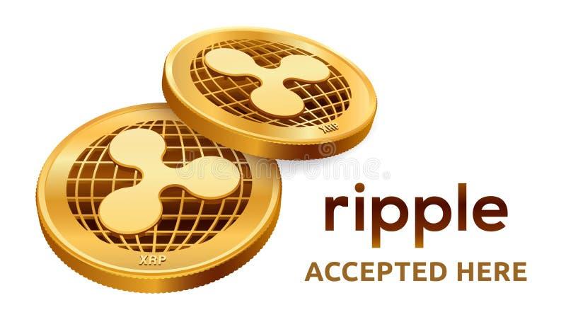 czochra Akceptujący szyldowy emblemat Crypto waluta Złote monety z czochra symbolem odizolowywającym na białym tle 3D isometric b ilustracji