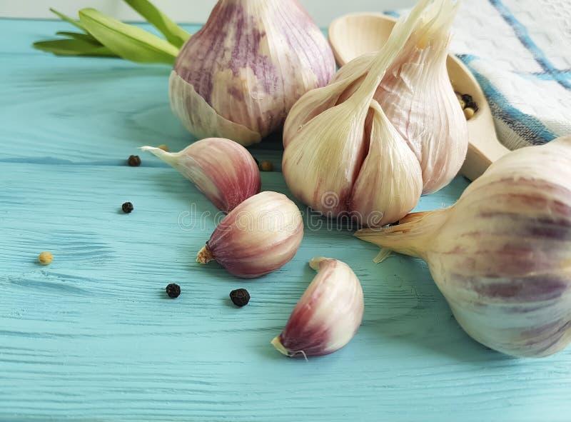 Czosnek, czarnego pieprzu rocznika aromata zdrowej naturalnej organicznie przyprawowej kulinarnej świeżości odżywiania kuchenny w zdjęcie stock