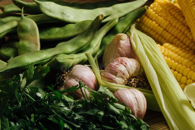 Czosnek, pietruszka i kukurudza zdjęcie stock