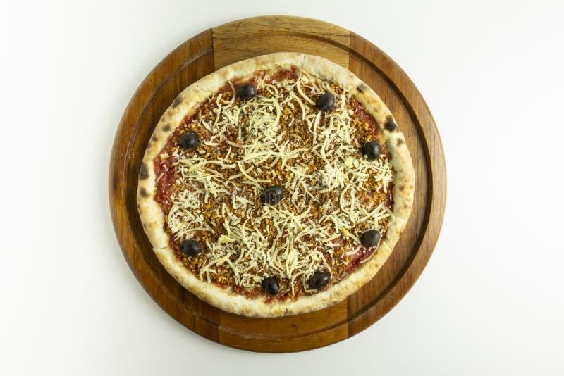 Czosnku i oleju pizza na białym tle obrazy royalty free