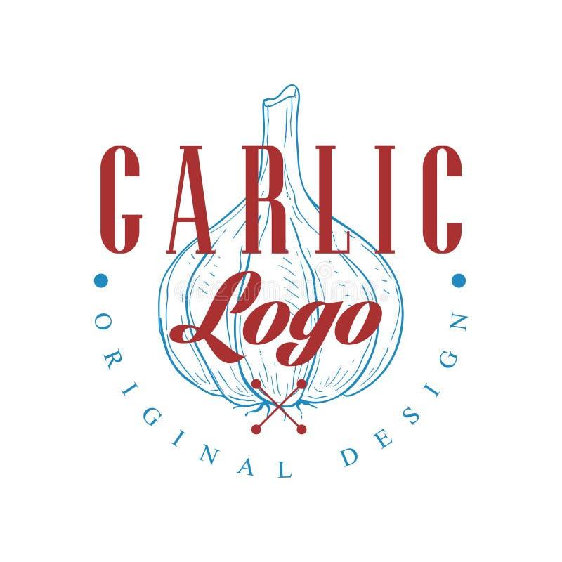 Czosnku loga oryginalny projekt, kulinarnego pikantność emblemata wektorowa ilustracja na białym tle ilustracja wektor