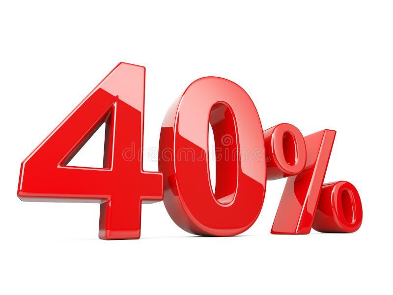 Czterdzieści czerwieni procentu symbol 40% odsetka tempo Specjalna oferta dis royalty ilustracja