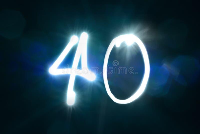 Czterdzieści lekkich błyskotanie połysku liczby rocznicy rok zdjęcie stock