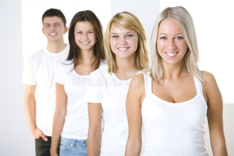 czterech przyjaciół kolejka zdjęcie stock