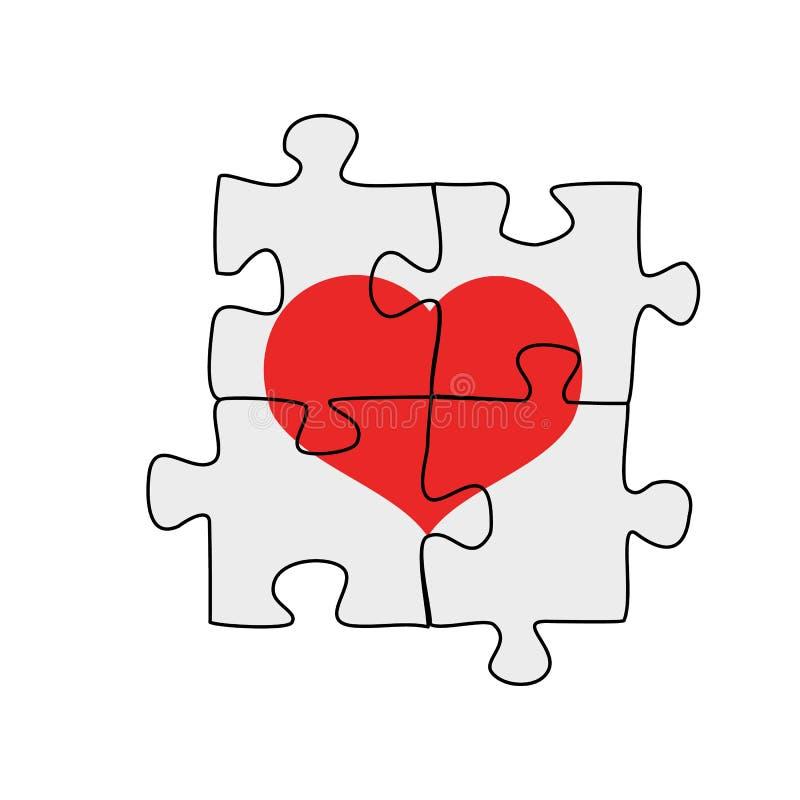 Cztery łączącego łamigłówka kawałka z sercem na nim, wektorowa ilustracja na bielu ilustracja wektor