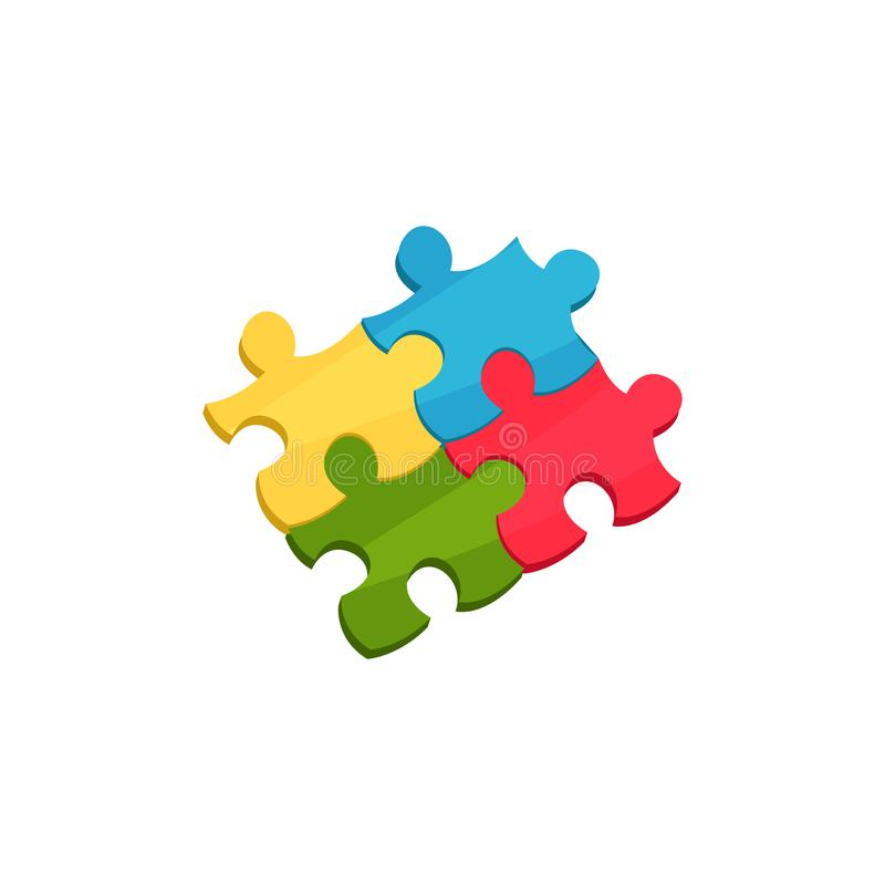 Cztery łączącego kawałka łamigłówka Kreskówki ikona dzieci s wyrzynarka Edukacyjna gra dla dzieciaków Kolorowy płaski wektor ilustracja wektor