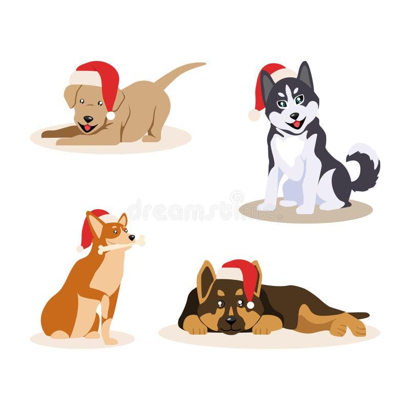 Cztery ślicznego małego psa w Święty Mikołaj kapeluszach, odizolowywających na białym tle Szczęśliwi różni szczeniaki również zwr ilustracja wektor
