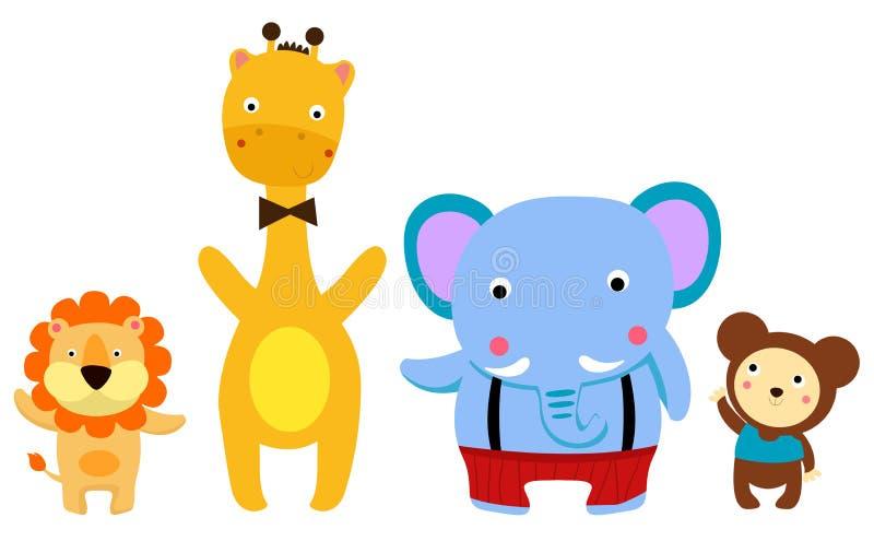 Cztery ślicznego zwierzęcia: lew, żyrafa, słoń, małpa ilustracji