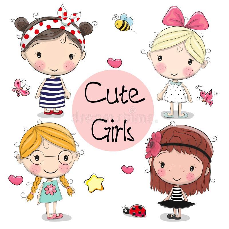 Cztery Ślicznej dziewczyny na białym tle royalty ilustracja