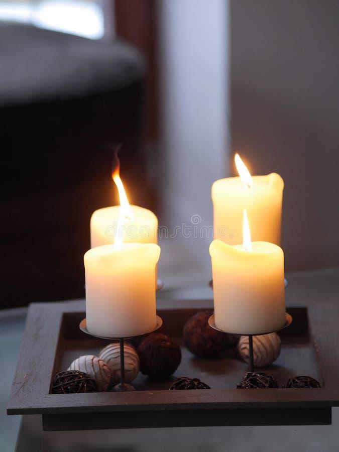 Cztery świeczki palić fotografia royalty free