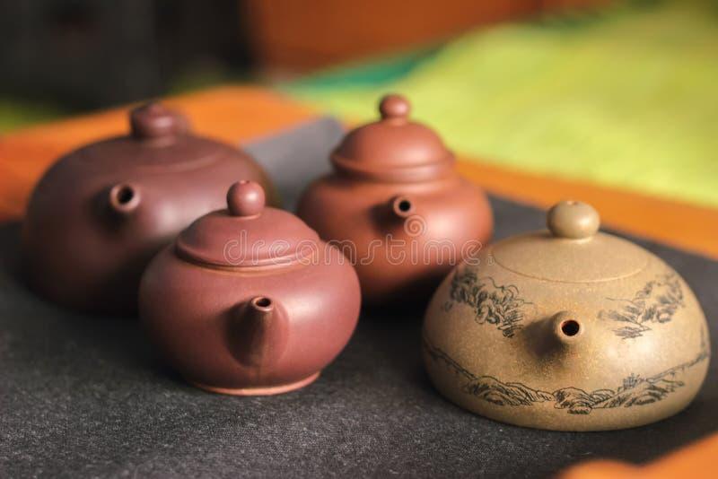 cztery żeliwo teapot zdjęcia royalty free
