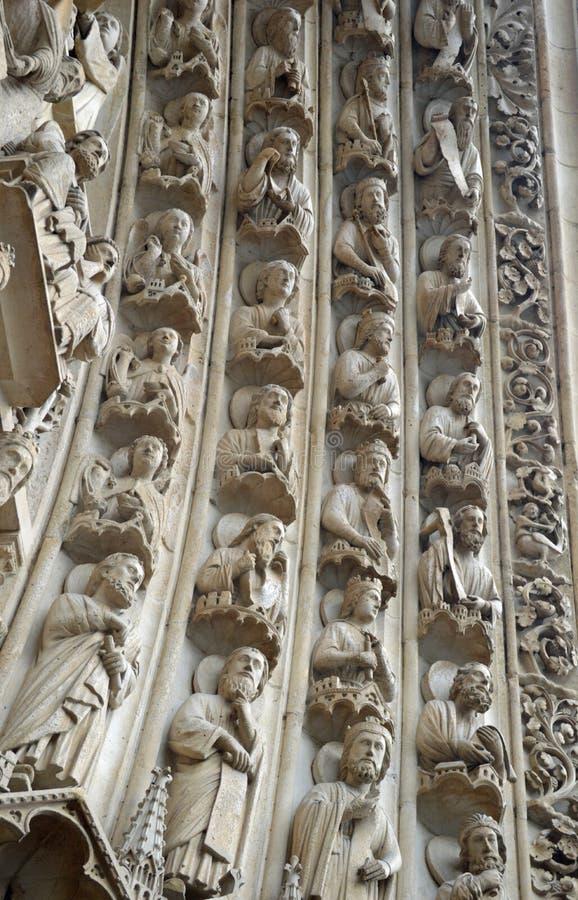 Cztery archvolts na portalu maryja dziewica, notre dame de paris, Ile De Los angeles Cytujący, Paryski Francja fotografia stock