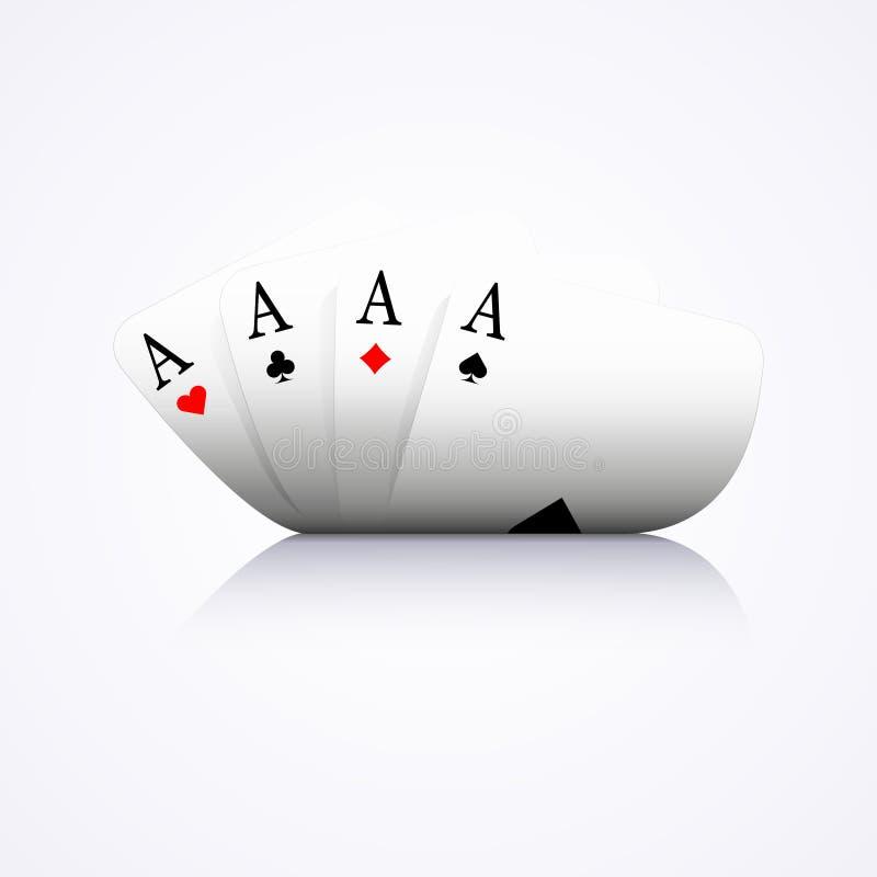 Cztery as kombinacja, grzebak, kasyno, wyginali się, royalty ilustracja