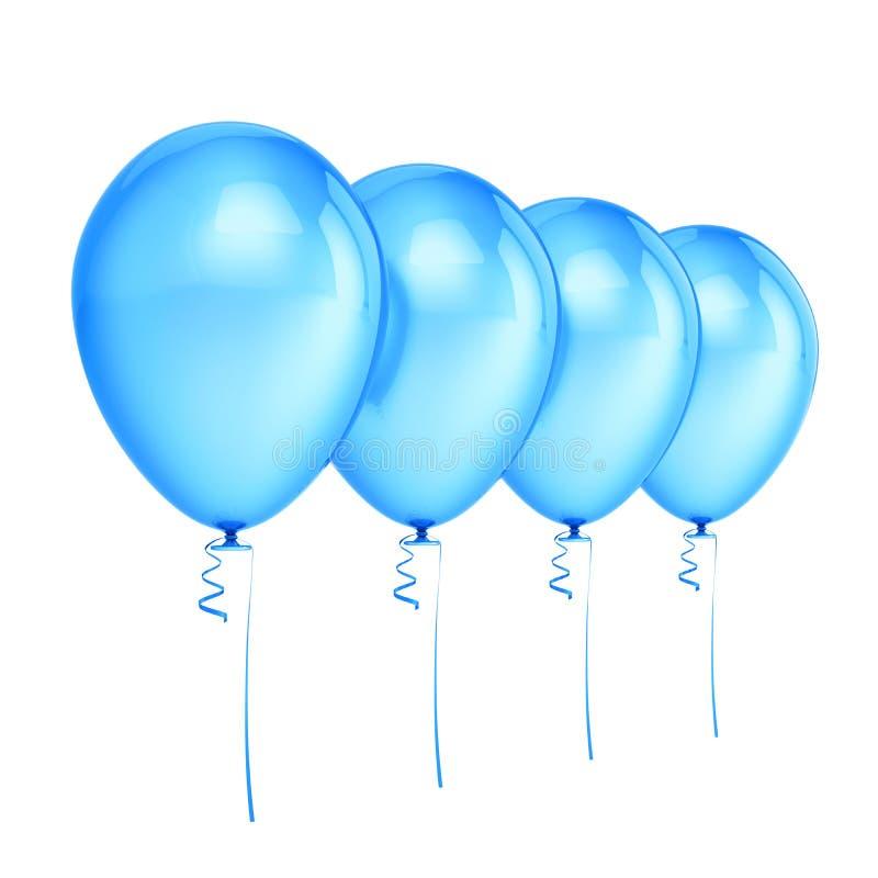 Cztery balonu bawją się urodzinową błękitną dekorację ilustracji