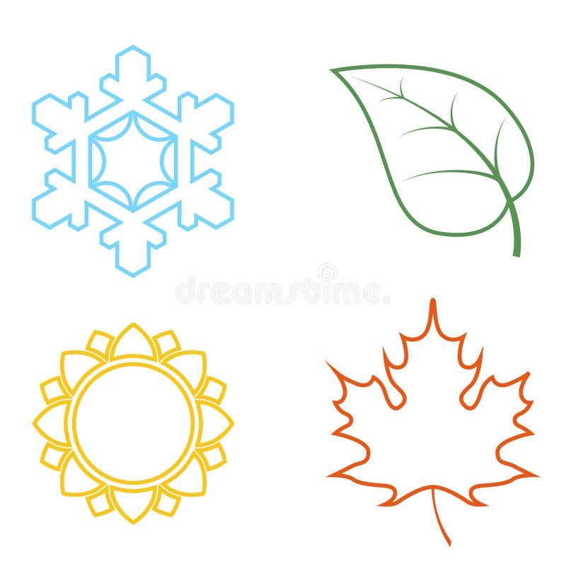 Cztery barwionej ikony z sezonami royalty ilustracja