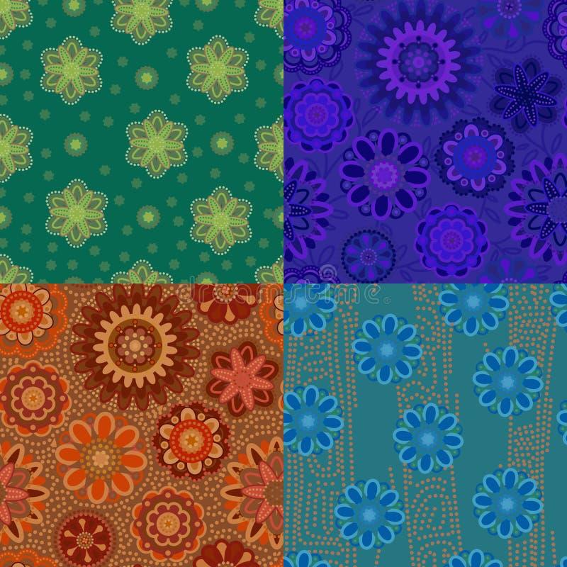 Cztery bezszwowy wzór z dekoracyjnymi kwiatami Błękit, zieleń, błękit i pomarańcze, jpg ilustracji