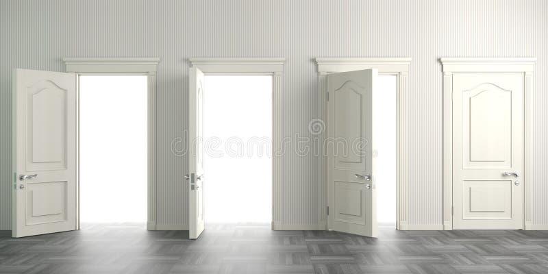 Cztery białego otwarte drzwiego na ścianie fotografia stock